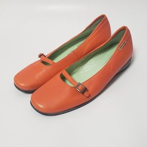 Mephisto Orange Leather Mary Janes Flats Size 9